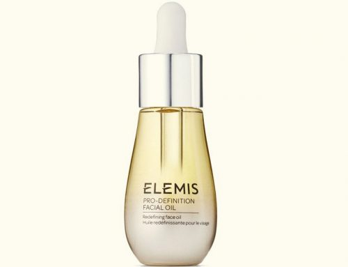 Elemis Pro Definition Facial Oil – Coloured glass with vignette effect with aluminium dropper