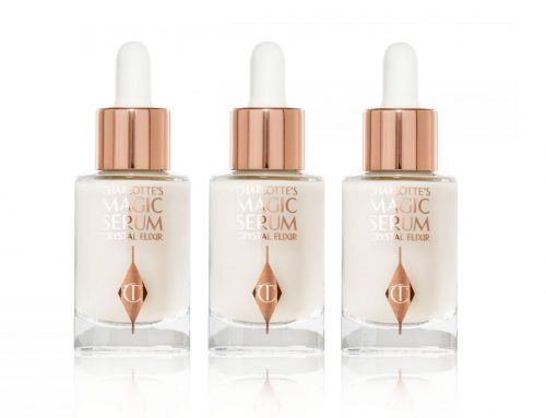 Charlotte Tilbury – clear glass mini bottle with rose gold foil decoration plus dropper with rose gold aluminium collar and white silicone bulb