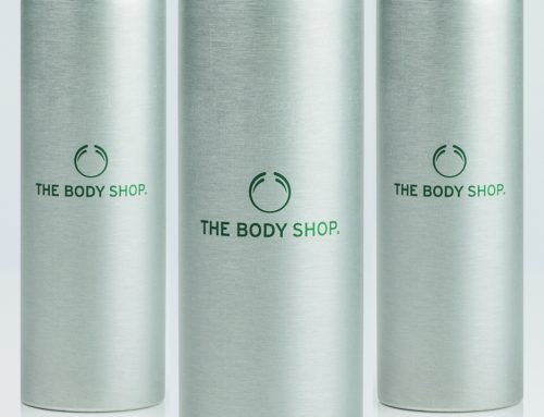 The Body Shop – brushed aluminium bottle with offset printing and aluminium screwcap