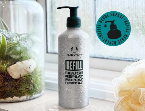 The Body Shop – 300ml brushed aluminium bottle with offset print used as a refill pack
