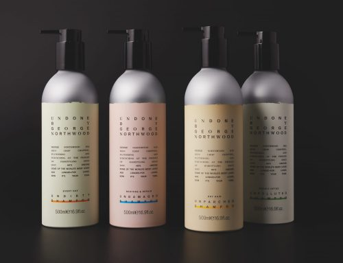 George Northwood celebrity hairdresser – range of aluminium bottles coloured and offset printed with soft touch varnish