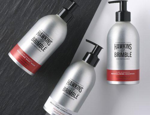 Hawkins & Brimble – 300ml aluminium bottle offset printed and matt varnish